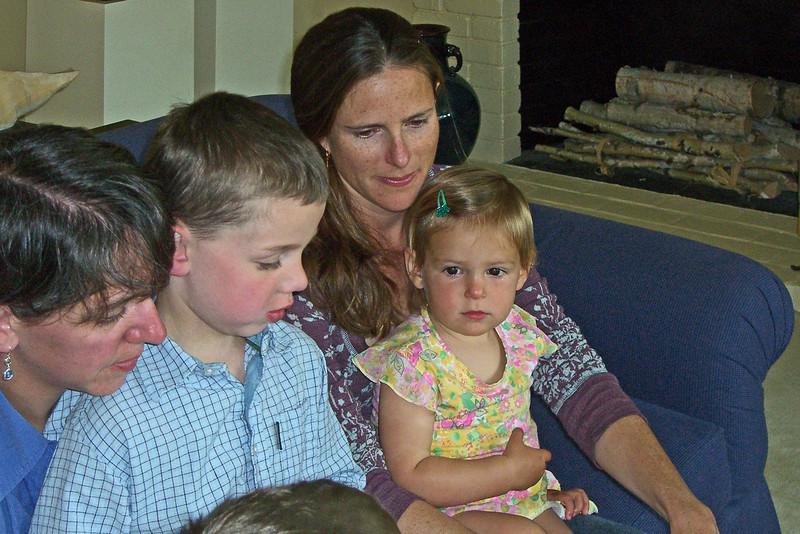 Elizabeth, Owen is reading, Leila, Hazel