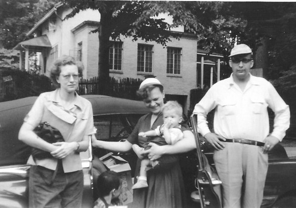 Tacoma Park Maryland - 1954  Ruth, Tim, Althea, Bryan and Tom  This picture was taken in front of Belle's house at 109 Sheridan.  My parents owned a convertible? Who knew? They drove from Detroit to Washington DC in that beauty