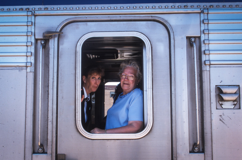 Mum Arriving in Shelby, MT on Amtrak in 2000