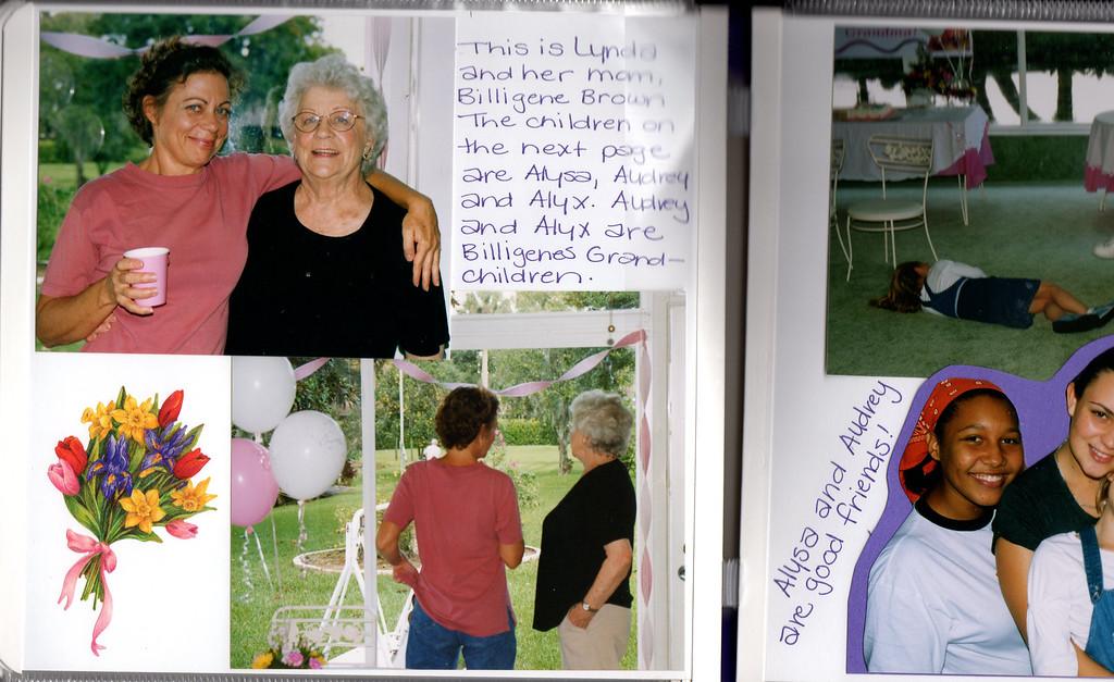 2003, Gladys Squibb's 90th Birthday Party. Lynda Brown Portanova and and Billigene Brown<br /> Tavares, Florida