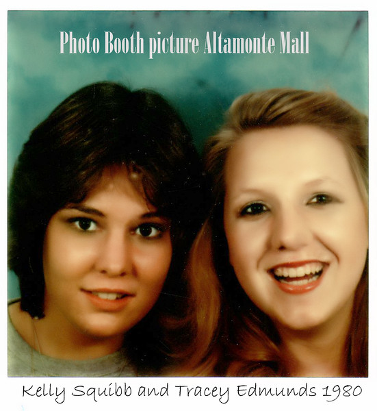 1980 Altamonte Springs, FL Kelly and Tracey at Altamonte Mall a photo Booth.