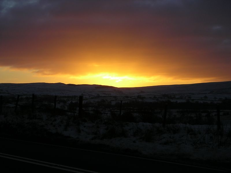 Sky on fire A66 eastbound Jan 04
