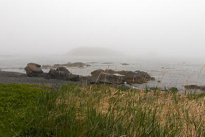 It's a misty seashore at Cape Onion