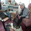 Watching cartoon on iPad with Great Grandma.  4 generations apart but same interest.