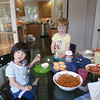 Tiffany and her daycare friend Adele at our place.  On the table is the cup cake they made.  We all had a great time.