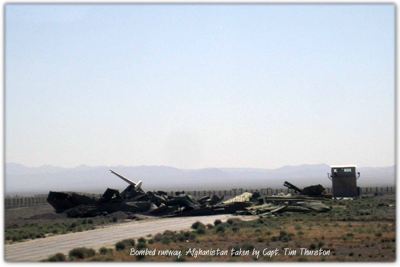 Bombed runway in Afghanistan May 2005