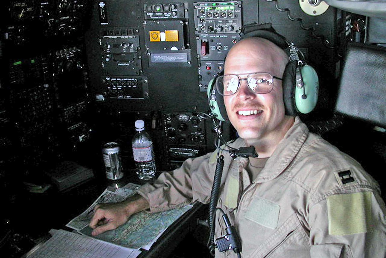Tim at his navigator station - Aghanistan April 2005