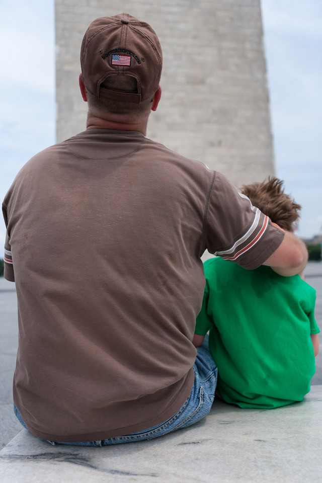 Time and Kyle looking up the Washington Monument. Digital, July 2014.