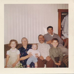 Jeanette Grant, Berta Kozlenko with Shari Grant, Michilo Kozlenko, Jeff Grant, and Fred Grant, Peru, Indiana - 1962