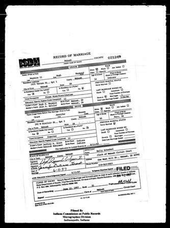 Record of Marriage - Hugh RaymondWaymire and JenniferDeanneGrant - 11June1997