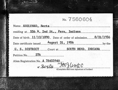 U S Federal Naturalization Records - 1956 - Berta Kozlenko