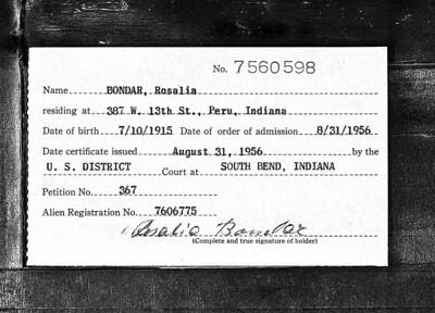 Indiana, U S , Federal Naturalization Records - Rosalia Bondar - 31AUG1956