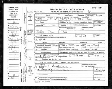 Death Certificate - Berta Kozlenko - 13Nov1890-14Dec1984