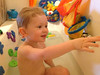 Enjoying a relaxing, playful, hot bath on a cold, dreary Monday