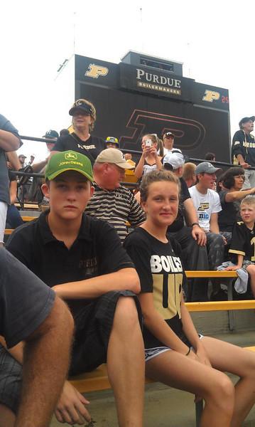 For Grandpa Jeff,  with Linda Tate at Purdue University Ross Ade Stadium