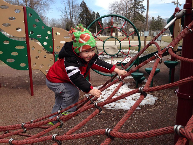 A little snow won't keep us from playing in the park , 2014