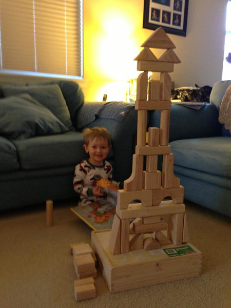 Daddy building blocks with Samuel