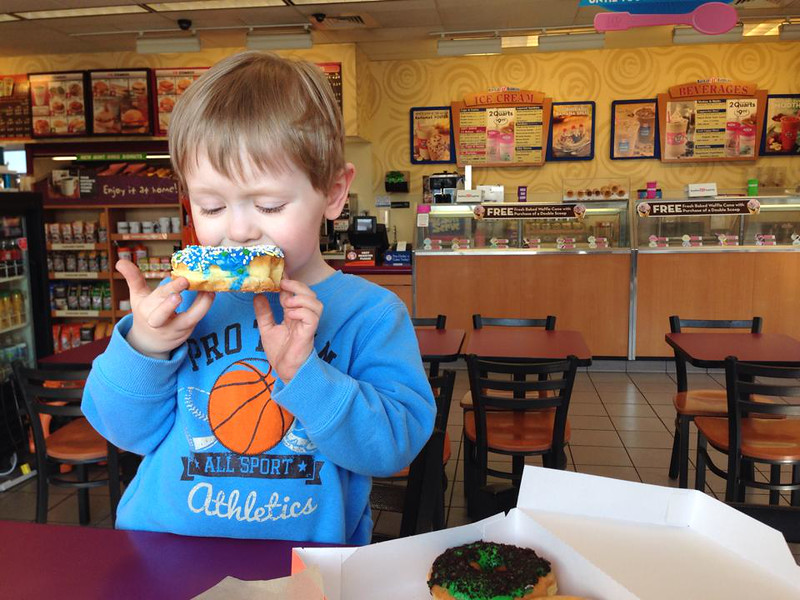 An after-park afternoon snack — at Dunkin Donuts