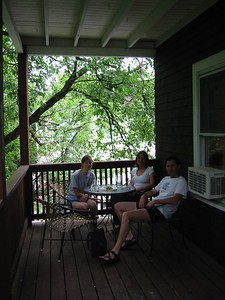 Mis, Tonya, and Mis' fiance on back porch