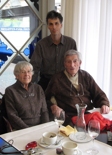Lunch in Thun - my God mother Zoe Graeter and my father
