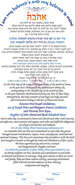 The English and Hebrew words on the Ketubah.