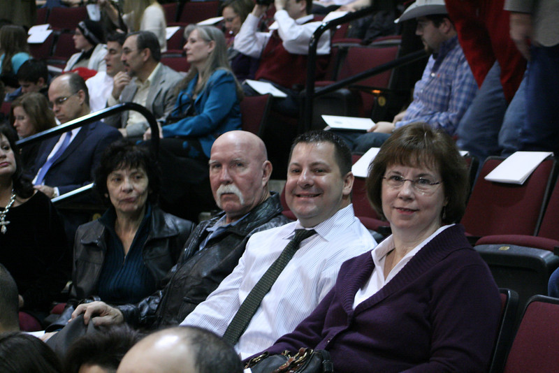 Some of the crowd attending the graduation, Fred's mom, Theresa, Willy, Fred, Connie