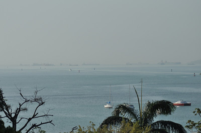 Dozens of ships await their turn through the canal