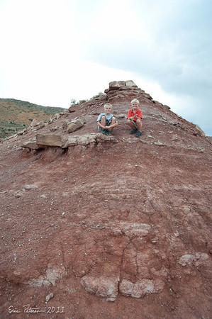 Evan and Liam raced up and down these two hills.