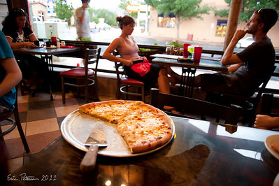 We had pizza in Moab.  Evan wanted to stay in Moab at a hotel so he could go swimming.