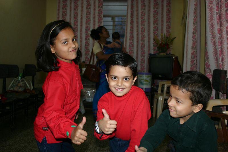 Niece Ananya with Nephews Aniket and Saksham
