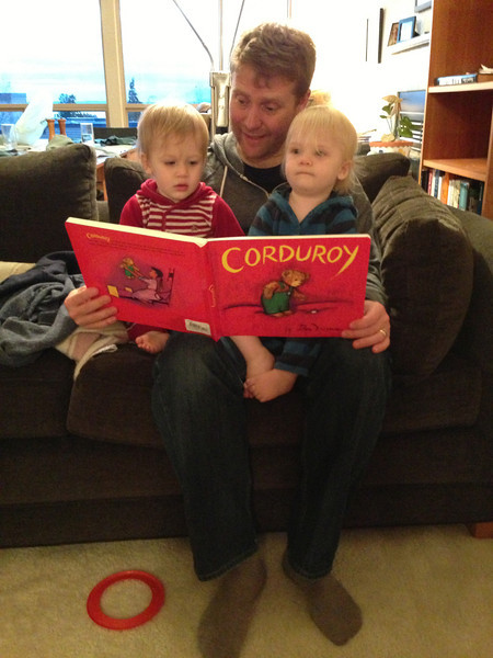 Dad Reading Corduroy to Munchkins