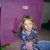 Here is Evelyn peeking out of her tent.  There is a blue tent for Paul in the playroom, too.