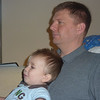 Paul, two years old, watching Mater's Tall Tales with his dad.