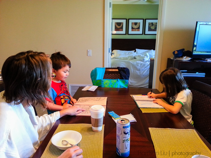 Typical morning. We eat and draw.