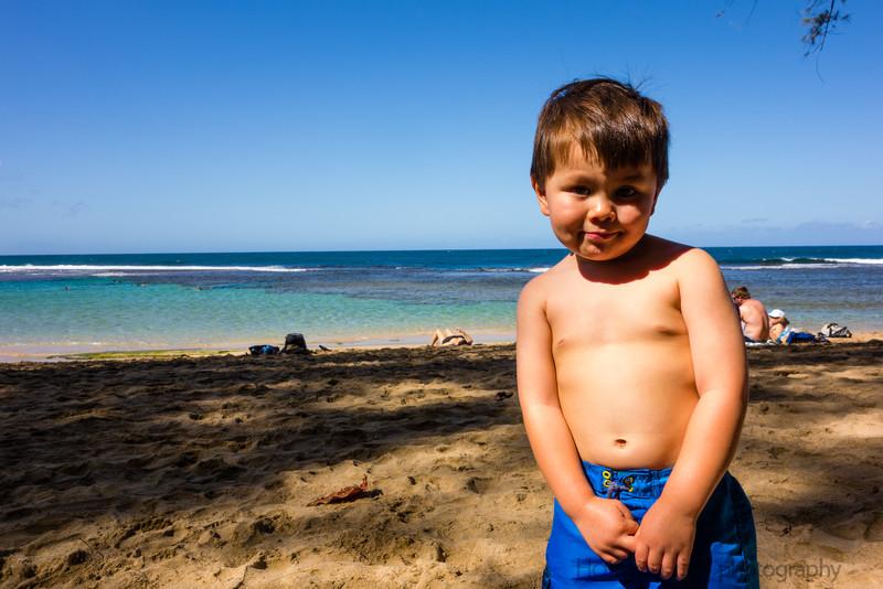 My little beach boy at Ke'e.