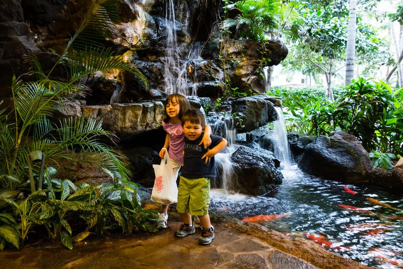 Kids enjoyed the Koi pond in the hotel lobby.