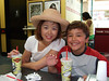 Austin and Ethan enjoy Fat Burger.  Mmmm, so tasty!