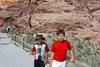 The boys enjoy the heat at Red Rock National Park.