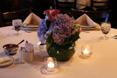 Table flower arrangements.