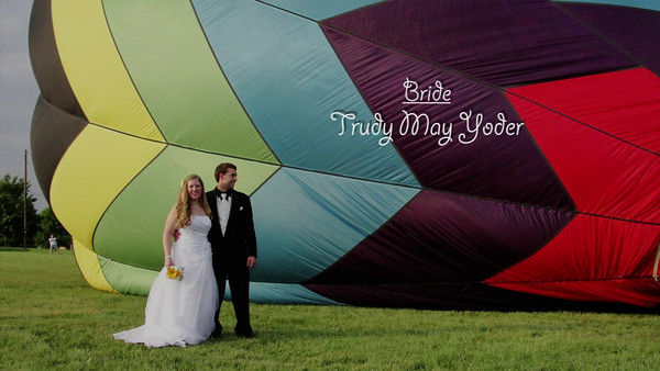 """""""Credits"""" - Video made by Rob Yoder, with credits for hot air balloon ride that carried Trudy & Bryan up on their wedding day!"""