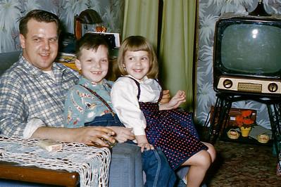 1954 Christmas, Dad, Larry, Judi