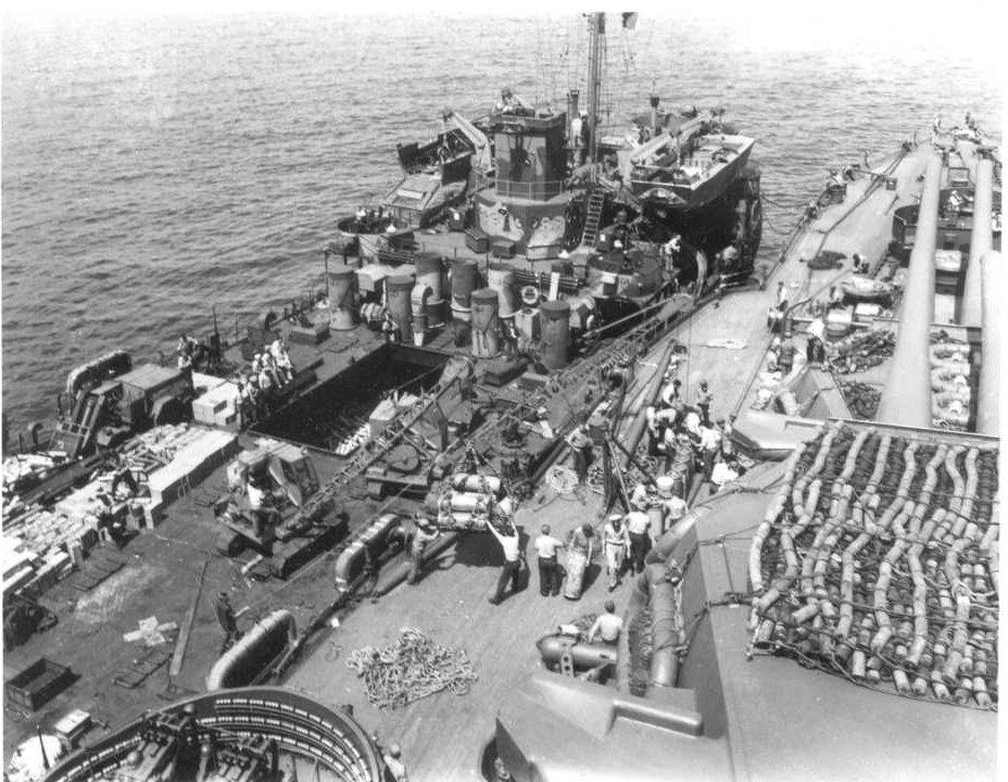 Supply ship offloading to USS Idaho