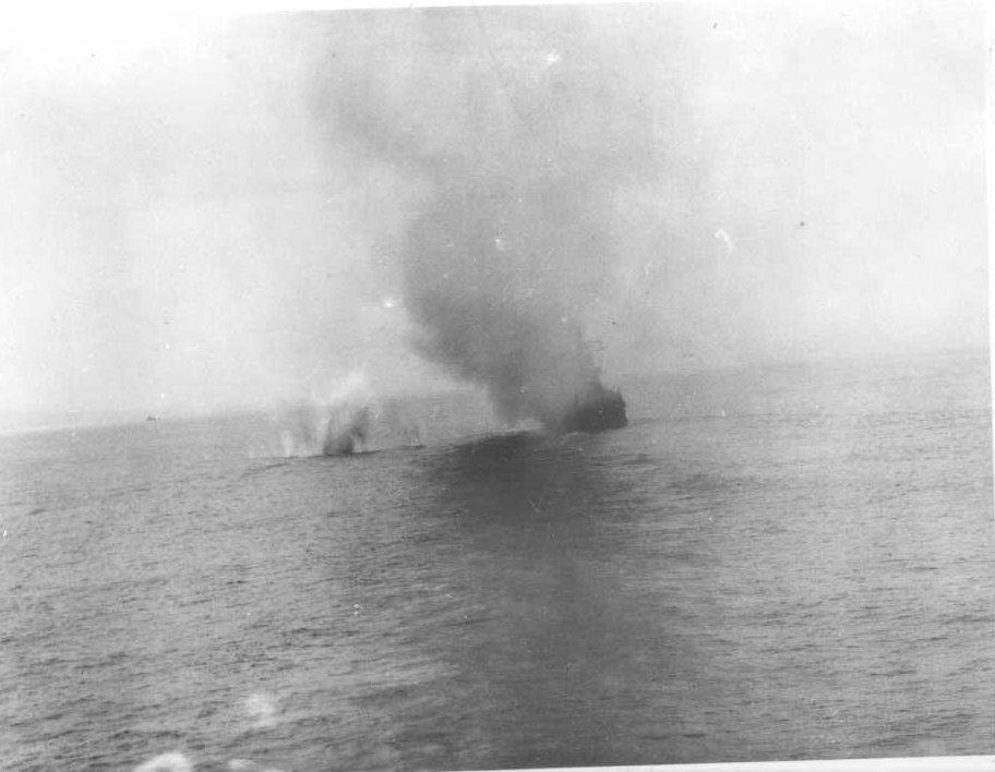 Kamikaze (wind of god), one of five that attacked the ship.  Only one hit it.  Picture taken from the USS Texas.