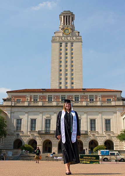 Heather in front of the UT tower