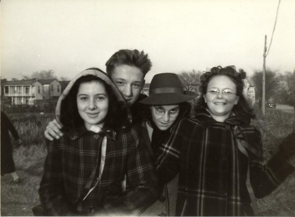 Elwood Carlisle Nov. 1940 with friends: Nancy Adams; Elwood; Vera Laviola; Mildred Golden