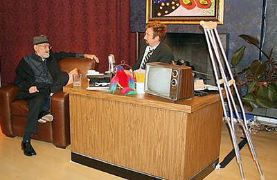 Elwood being interviewed by Tom Green on his show