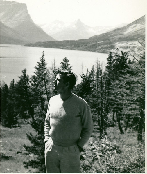 Elwood enjoying Lake Louise, Alberta, Canada in 1952