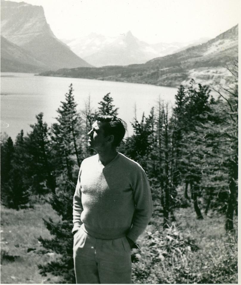 Elwood enjoying Lake Louise, Alberta, Canada in 1952