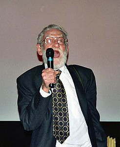 Elwood speaking at his movie premiere