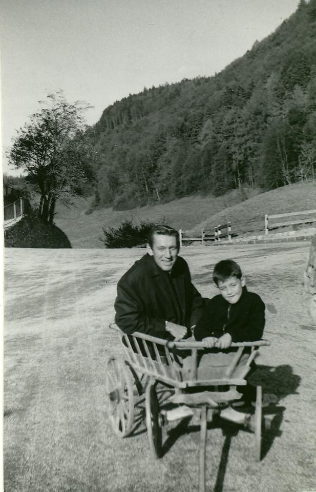 Elwood in Vaduz, Leichtenstein, Nov. 11, 1961 with a local Leichtensteinian boy